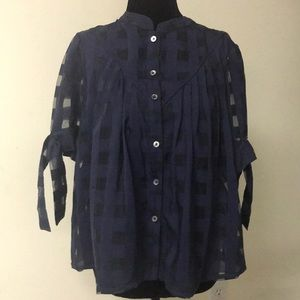 Anthropologie Current Air Top Size Small Navy NWT
